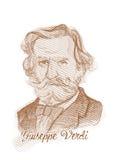 Verticale de croquis de type de gravure de Giuseppe Fortunino Francesco Verdi Photo stock