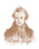 Verticale de croquis de type de gravure de Victor Hugo Photos stock