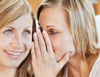 Verticale de deux amis féminins disant des secrets Photos stock