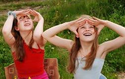 Verticale de deux filles Photos stock