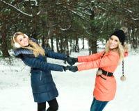 Verticale de deux filles heureuses retenant des mains Photographie stock libre de droits