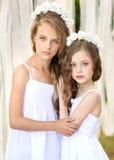 Verticale de deux jeunes amies Images libres de droits
