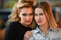 Verticale de deux jolies filles Photo libre de droits