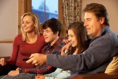 Verticale de famille détendant sur le sofa ensemble Photographie stock