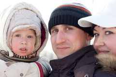 Verticale de famille de l'hiver Photographie stock libre de droits