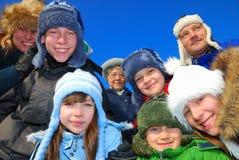 Verticale de famille de l'hiver Images stock