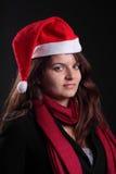 Verticale de Femail avec le chapeau de Noël Photographie stock libre de droits
