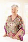 Verticale de femme âgée à la maison Photo stock