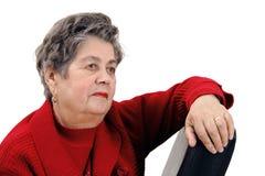 Verticale de femme aînée d'isolement sur le blanc Photo libre de droits
