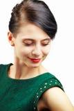 Verticale de femme au-dessus de blanc photo libre de droits