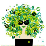 Verticale de femme avec la coiffure de signes du dollar Photo libre de droits