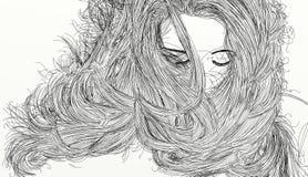 Verticale de femme avec le long cheveu image libre de droits