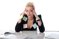 Verticale de femme d'affaires avec des papiers de note Images libres de droits