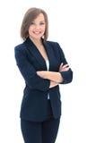 Verticale de femme d'affaires d'isolement sur le fond blanc Photographie stock