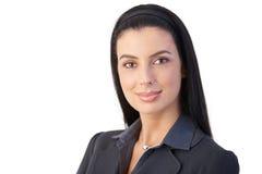 Verticale de femme d'affaires gaie photographie stock libre de droits