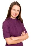 Verticale de femme de sourire Images libres de droits