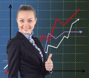 Verticale de femme de sourire caucasienne attirante sur le blanc Photos stock