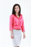 Verticale de femme de sourire d'affaires, d'isolement sur le fond blanc Image stock