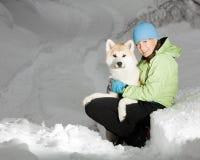 Verticale de femme en hiver Photo stock