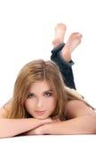 Verticale de femme sexy d'isolement sur le blanc Images stock