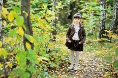 Verticale de fille adorable d'enfant dans la forêt d'automne Image stock