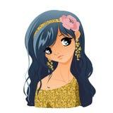 Verticale de fille avec des fleurs Photo stock