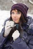Verticale de fille de l'hiver Photos libres de droits