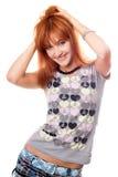Verticale de fille red-haired attirante Images libres de droits