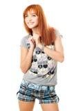 Verticale de fille red-haired rêveuse de sourire Image stock