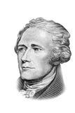 Verticale de Hamilton sur billet de dix dollars. Photographie stock
