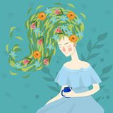 Verticale de jeune belle femme avec des fleurs Calibre pour des cartes de visite professionnelle de visite, la publicit?, insecte illustration de vecteur