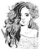 Verticale de jeune belle femme avec des fleurs illustration stock