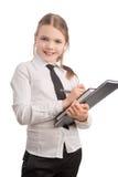 Verticale de jeune et heureuse petite fille d'affaires Photo stock