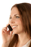 Verticale de jeune femme avec le téléphone portable Image libre de droits