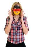 Verticale de jeune femme avec le visage peint Photographie stock libre de droits