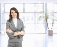 Verticale de jeune femme d'affaires image stock