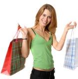 Verticale de jeune femme de beautifull avec des sacs Photographie stock libre de droits