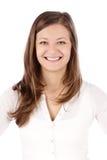 Verticale de jeune femme de sourire d'affaires photo libre de droits