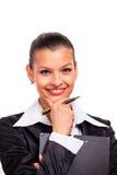 Verticale de jeune femme heureuse d'affaires Image libre de droits
