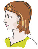 Verticale de jeune fille de cheveu de Brown Image libre de droits