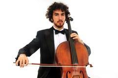 Verticale de jeune homme avec le violoncelle Photographie stock libre de droits