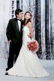 Verticale de jeunes couples dans l'action romantique Images stock