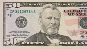 Verticale de l'ancien Pr?sident Ulysse S S le Pr?sident Ulysses Grant macro de 50 dollars photo libre de droits