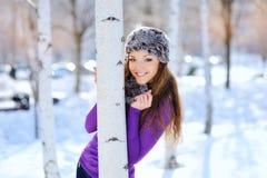 Verticale de l'hiver d'une belle fille images libres de droits