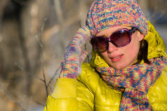 Verticale de l'hiver de la fille Images stock
