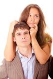 Verticale de l'homme et de femme, il est isolé. Images libres de droits