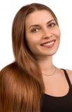 Verticale de la belle fille avec le long cheveu Images libres de droits