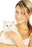 Verticale de la fille avec un chat Image libre de droits