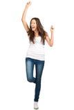 Verticale de la fille excited heureuse criant Image libre de droits