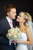 Verticale de la mariée et du marié Images libres de droits